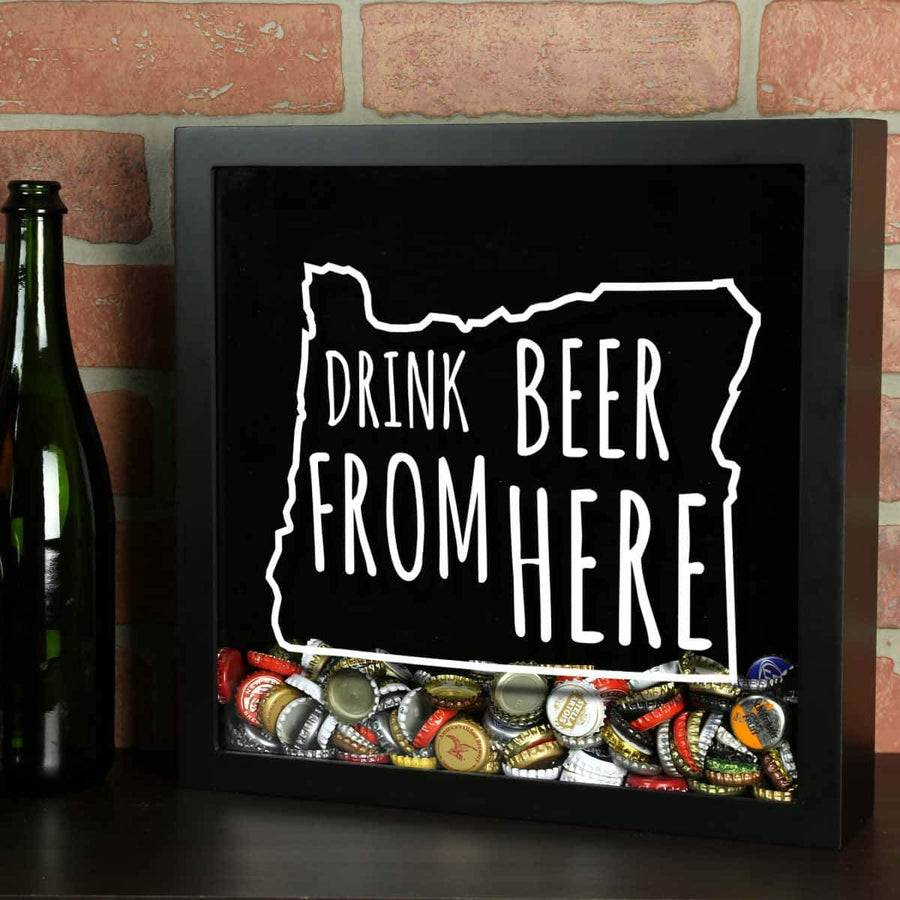 Torched Products Shadow Box Black Oregon Drink Beer From Here Beer Cap Shadow Box