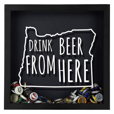 Torched Products Shadow Box Oregon Drink Beer From Here Beer Cap Shadow Box