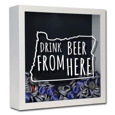 Torched Products Shadow Box White Oregon Drink Beer From Here Beer Cap Shadow Box (781183287413)