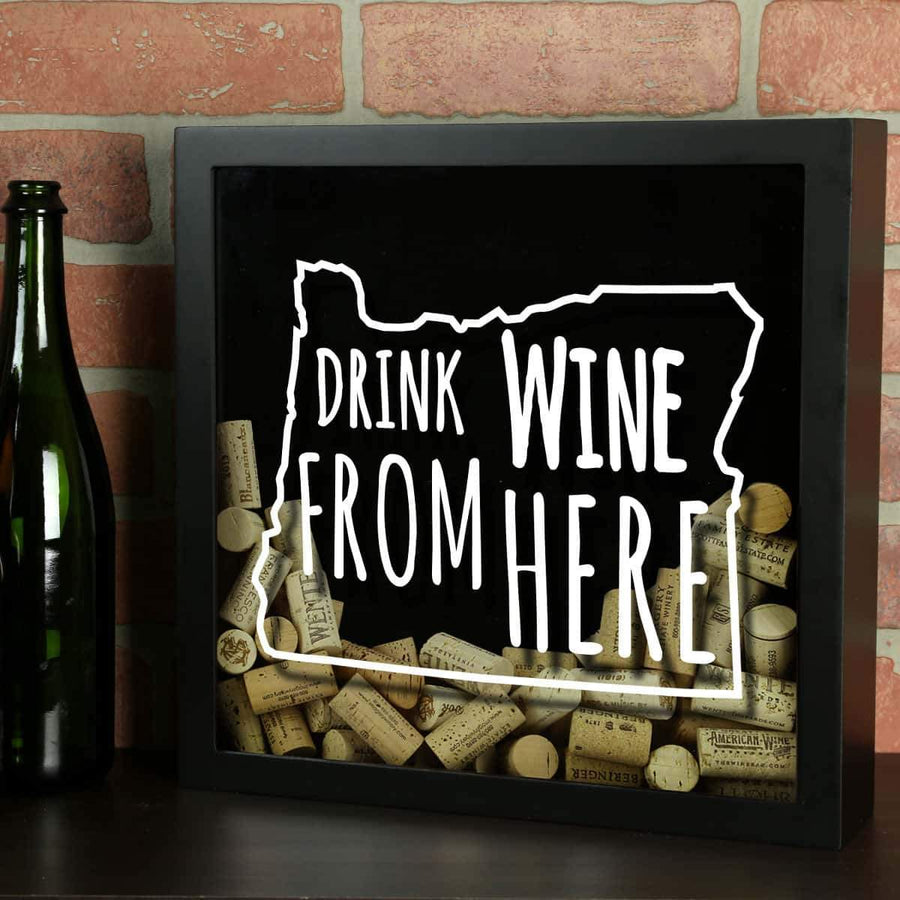 Torched Products Shadow Box Black Oregon Drink Wine From Here Wine Cork Shadow Box (795783397493)