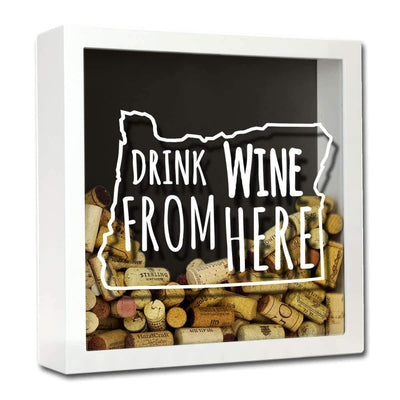 Torched Products Shadow Box White Oregon Drink Wine From Here Wine Cork Shadow Box (795783397493)