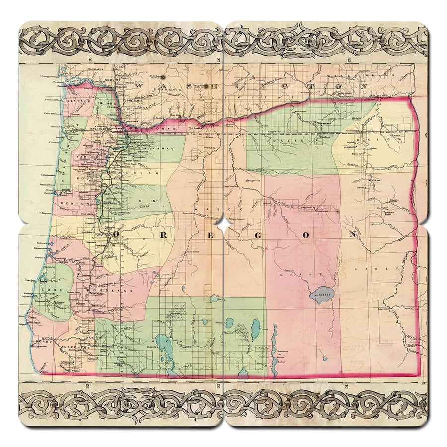 Torched Products Coasters Oregon Old World Map Coaster