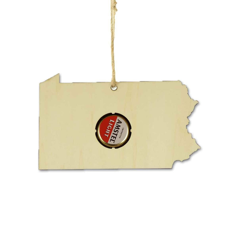 Torched Products Beer Cap Maps Pennsylvania Beer Cap Map Ornaments