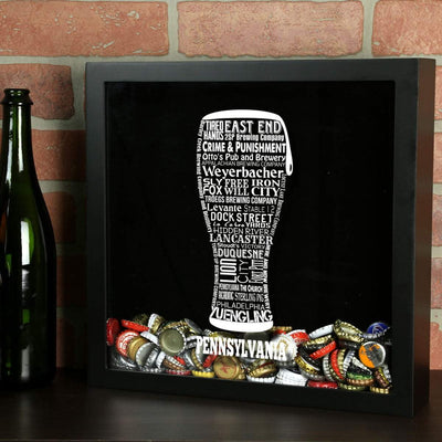Torched Products Shadow Box Pennsylvania Beer Typography Shadow Box
