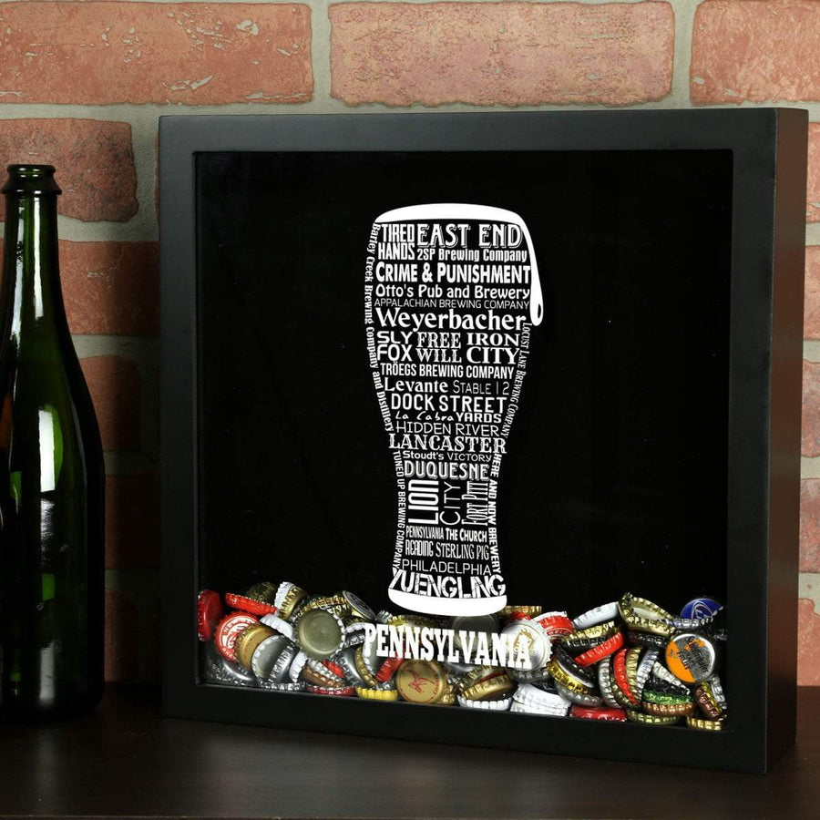Torched Products Shadow Box Black Pennsylvania Beer Typography Shadow Box