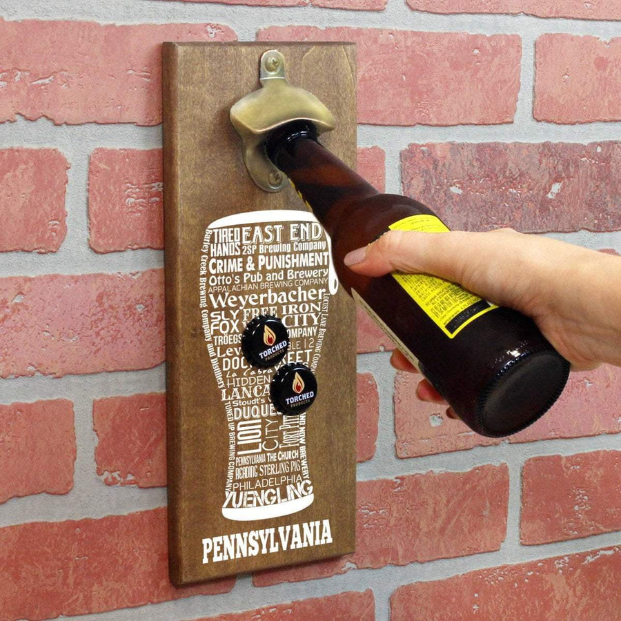 Torched Products Bottle Opener Default Title Pennsylvania Craft Beer Typography Cap Catching Magnetic Bottle Opener (789187035253)