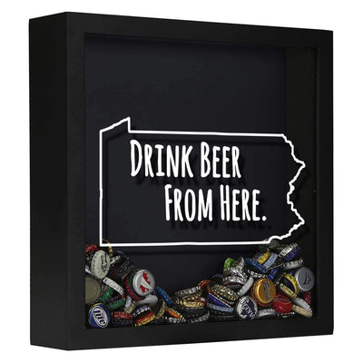Torched Products Shadow Box Black Pennsylvania Drink Beer From Here Beer Cap Shadow Box