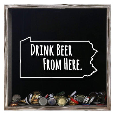 Torched Products Shadow Box Gray Pennsylvania Drink Beer From Here Beer Cap Shadow Box