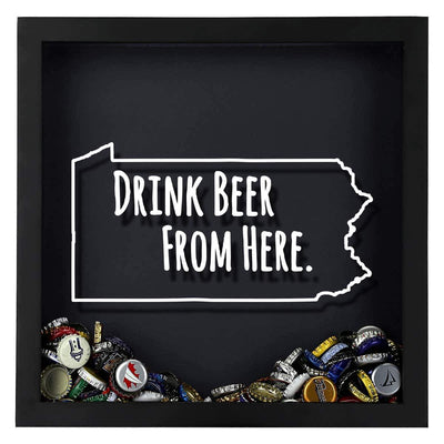 Torched Products Shadow Box Pennsylvania Drink Beer From Here Beer Cap Shadow Box