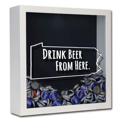 Torched Products Shadow Box White Pennsylvania Drink Beer From Here Beer Cap Shadow Box