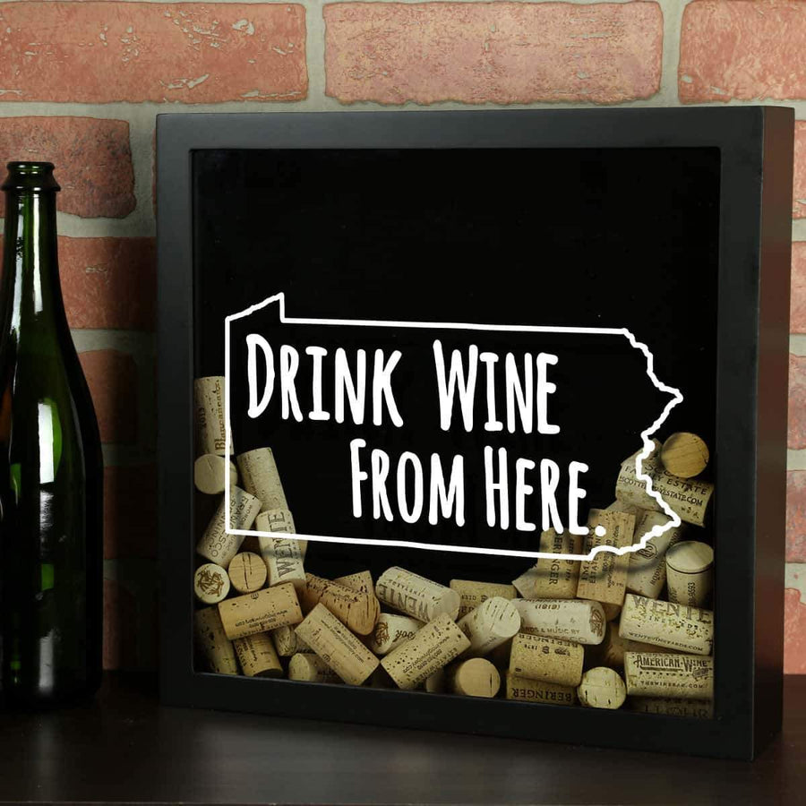 Torched Products Shadow Box Black Pennsylvania Drink Wine From Here Wine Cork Shadow Box (795784347765)
