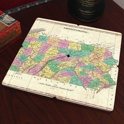 Torched Products Coasters Pennsylvania Old World Map Coaster (790596550773)