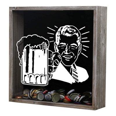 Torched Products Shadow Box Gray Retro Craft Beer Cap Shadow Box
