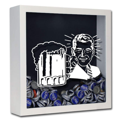 Torched Products Shadow Box White Retro Craft Beer Cap Shadow Box
