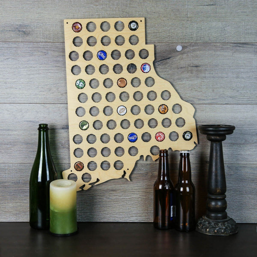 Torched Products Beer Bottle Cap Holder Rhode Island Beer Cap Map