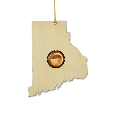 Torched Products Ornaments Rhode Island Beer Cap Map Ornaments