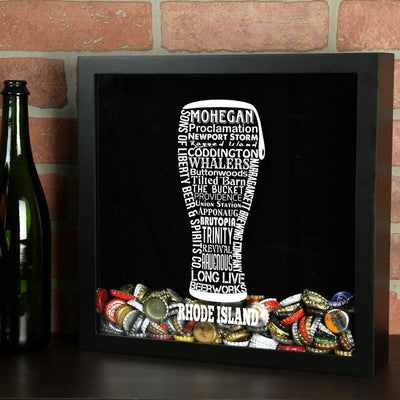 Torched Products Shadow Box Rhode Island Beer Typography Shadow Box