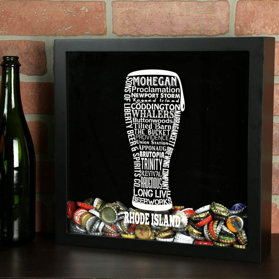 Torched Products Shadow Box Black Rhode Island Beer Typography Shadow Box