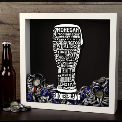 Torched Products Shadow Box Rhode Island Beer Typography Shadow Box (779393761397)
