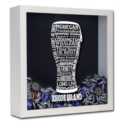 Torched Products Shadow Box White Rhode Island Beer Typography Shadow Box