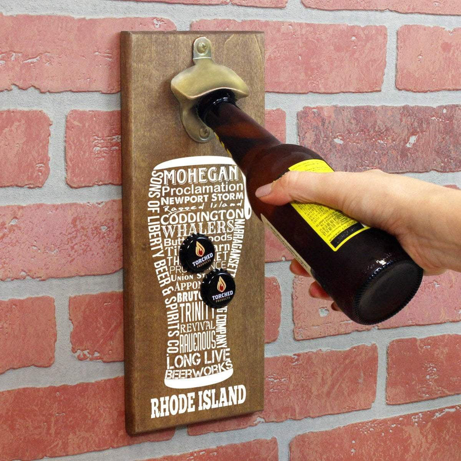 Torched Products Bottle Opener Default Title Rhode Island Craft Beer Typography Cap Catching Magnetic Bottle Opener