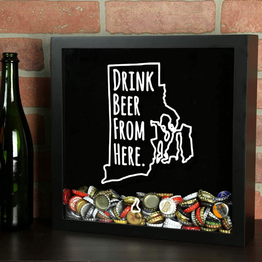 Torched Products Shadow Box Black Rhode Island Drink Beer From Here Beer Cap Shadow Box