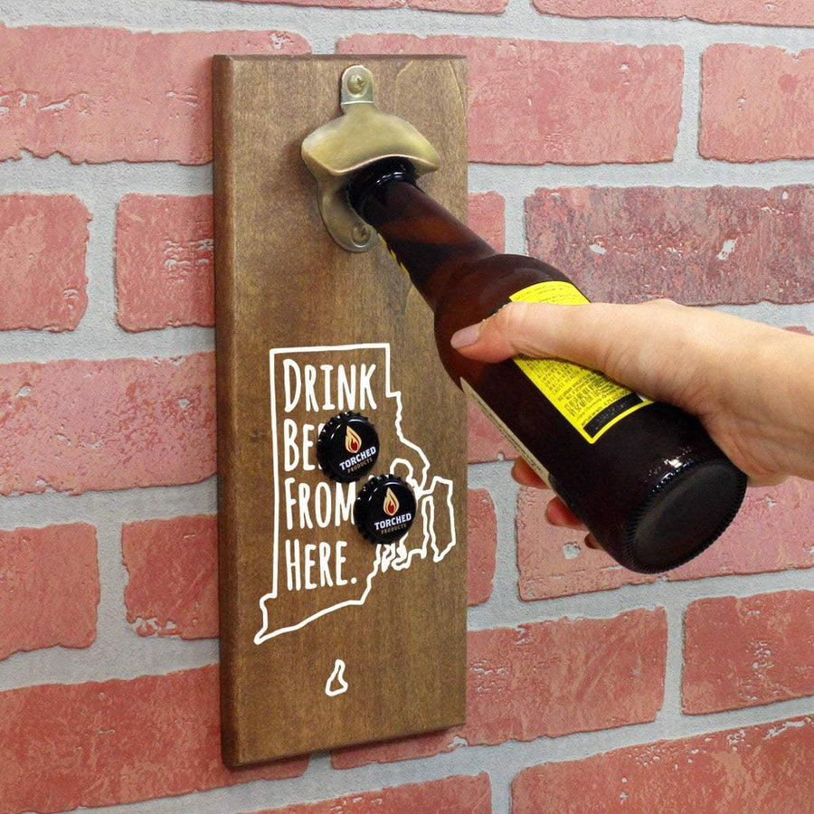 Torched Products Bottle Opener Default Title Rhode Island Drink Beer From Here Cap Catching Magnetic Bottle Opener