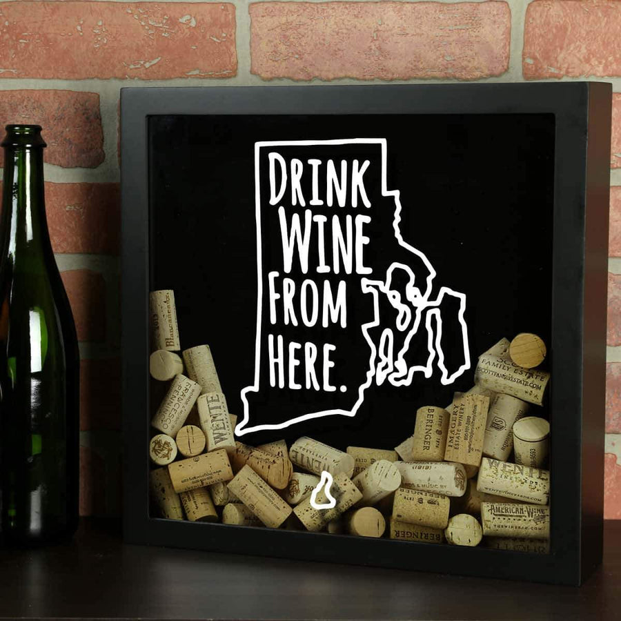 Torched Products Shadow Box Black Rhode Island Drink Wine From Here Wine Cork Shadow Box