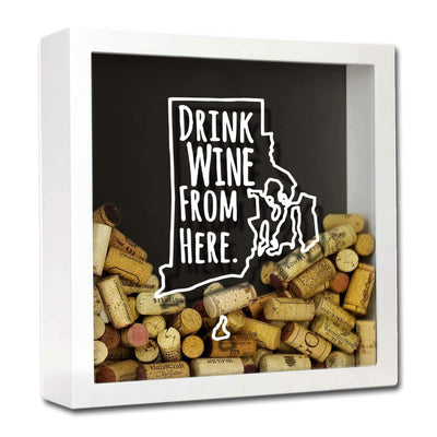 Torched Products Shadow Box White Rhode Island Drink Wine From Here Wine Cork Shadow Box