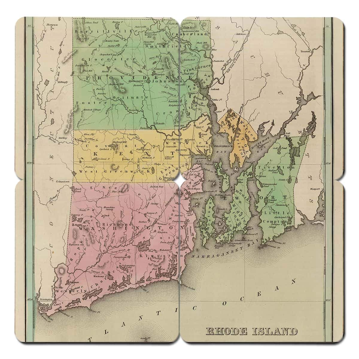 Rhode Island Old World Map Coaster - Torched Products