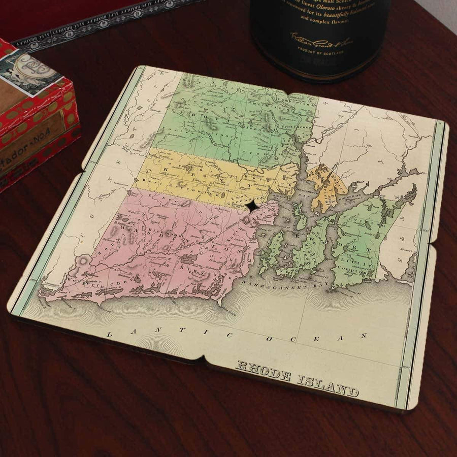 Torched Products Coasters Rhode Island Old World Map Coaster (790596616309)