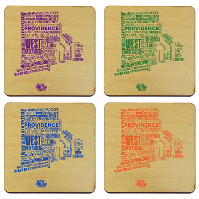 Torched Products Coasters Rhode Island Typography Coaster