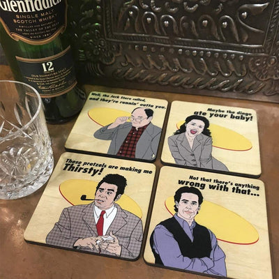 Torched Products Coasters Set of 4 Seinfeld Inspired Wood Coasters, All Natural Wood Drink Coasters in Color
