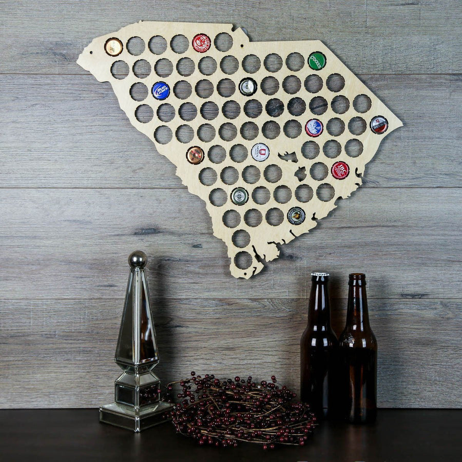 Torched Products Beer Bottle Cap Holder South Carolina Beer Cap Map