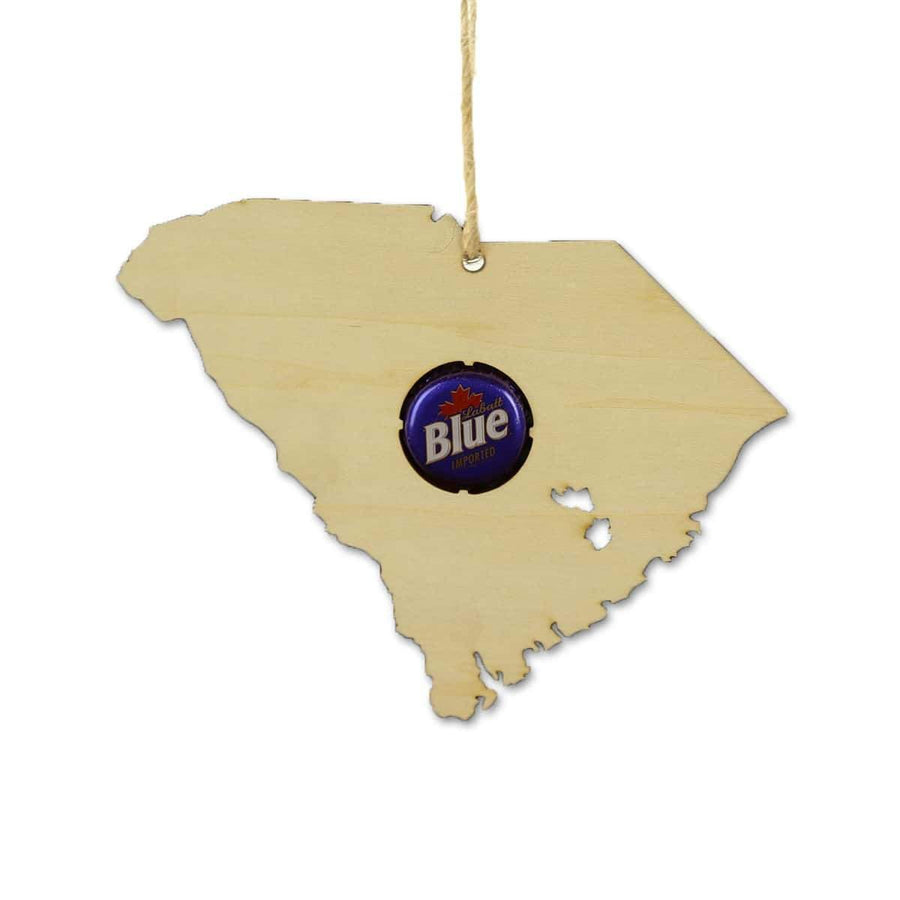 Torched Products Beer Cap Maps South Carolina Beer Cap Map Ornaments