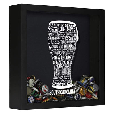 Torched Products Shadow Box Black South Carolina Beer Typography Shadow Box (779394089077)