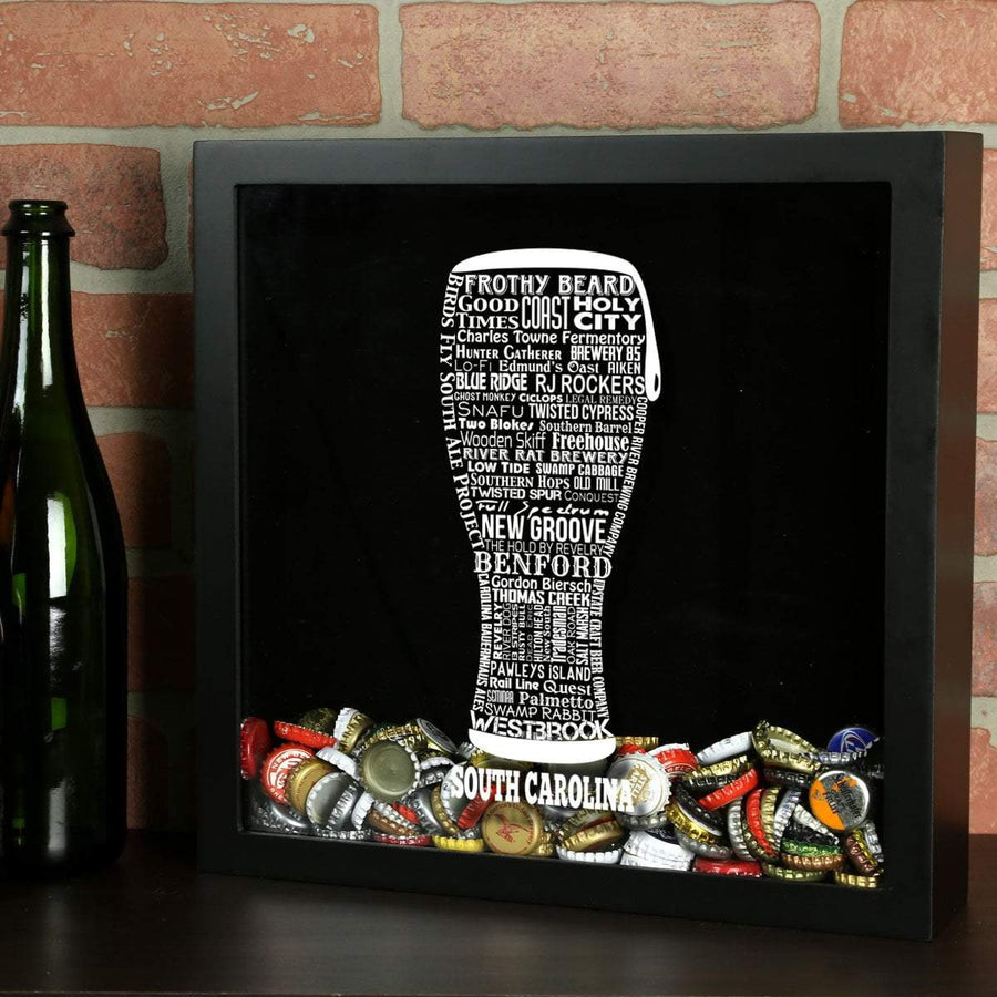 Torched Products Shadow Box Black South Carolina Beer Typography Shadow Box