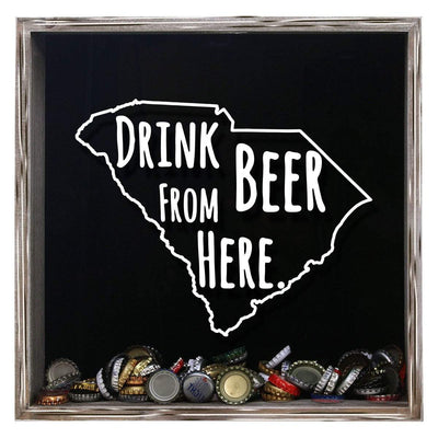 Torched Products Shadow Box Gray South Carolina Drink Beer From Here Beer Cap Shadow Box (781183844469)