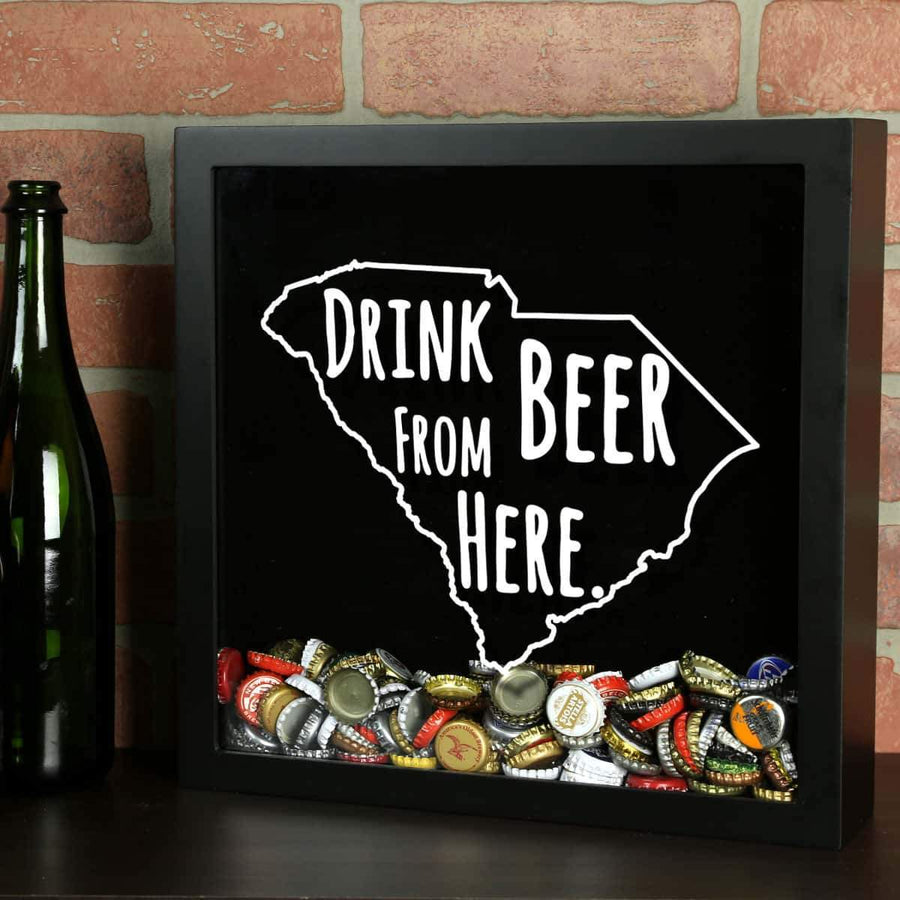 Torched Products Shadow Box Black South Carolina Drink Beer From Here Beer Cap Shadow Box (781183844469)