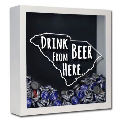 Torched Products Shadow Box White South Carolina Drink Beer From Here Beer Cap Shadow Box (781183844469)