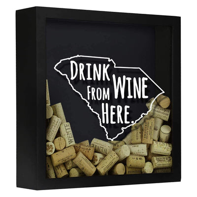 Torched Products Shadow Box Black South Carolina Drink Wine From Here Wine Cork Shadow Box (795785265269)