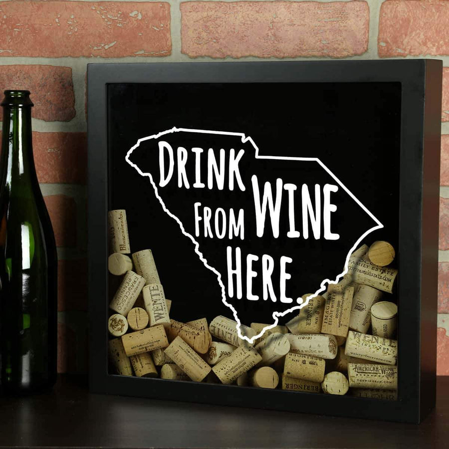 Torched Products Shadow Box Black South Carolina Drink Wine From Here Wine Cork Shadow Box