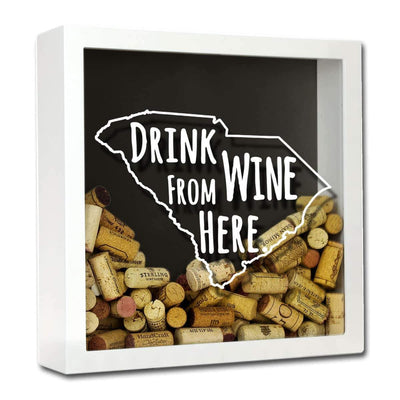 Torched Products Shadow Box White South Carolina Drink Wine From Here Wine Cork Shadow Box (795785265269)