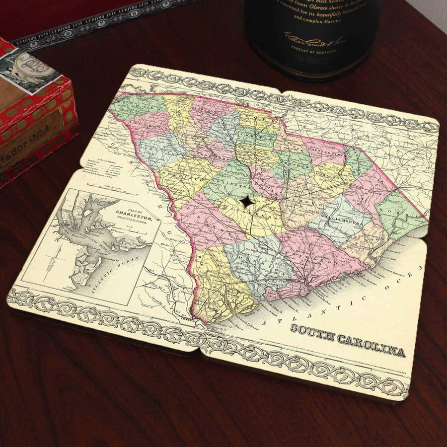 Torched Products Coasters South Carolina Old World Map Coaster