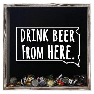 Torched Products Shadow Box Gray South Dakota Drink Beer From Here Beer Cap Shadow Box (781184139381)