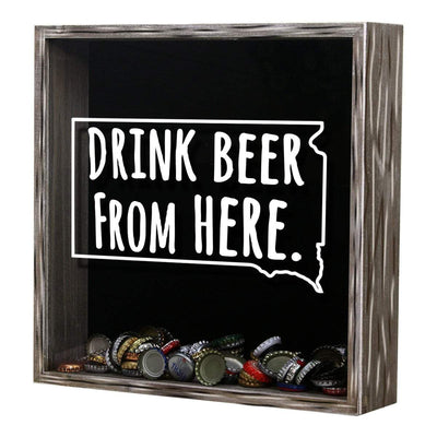 Torched Products Shadow Box South Dakota Drink Beer From Here Beer Cap Shadow Box (781184139381)