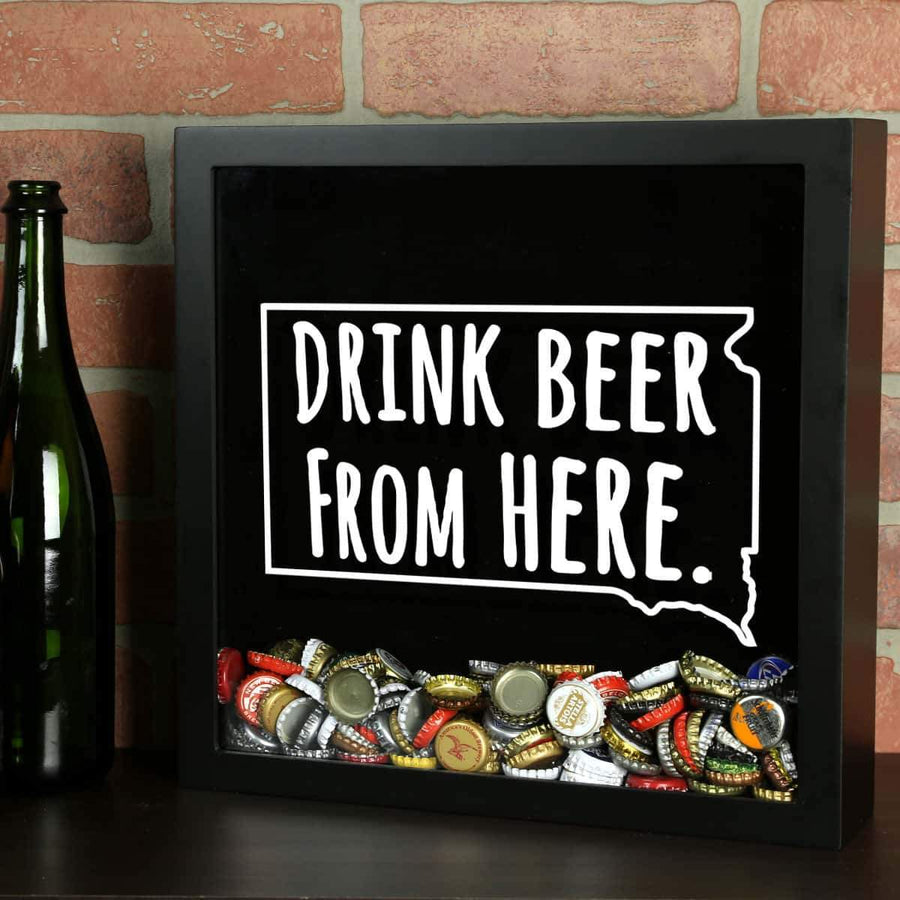 Torched Products Shadow Box Black South Dakota Drink Beer From Here Beer Cap Shadow Box (781184139381)