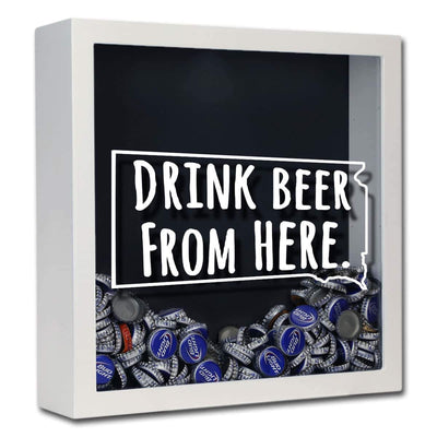 Torched Products Shadow Box White South Dakota Drink Beer From Here Beer Cap Shadow Box (781184139381)