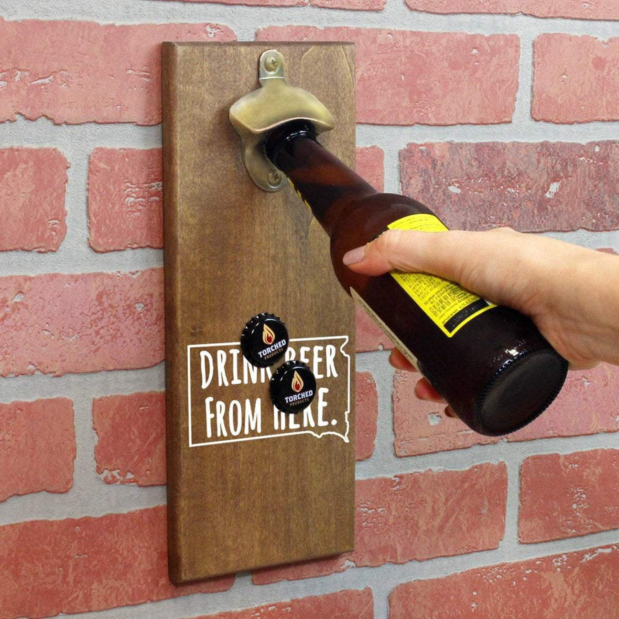 Torched Products Bottle Opener Default Title South Dakota Drink Beer From Here Cap Catching Magnetic Bottle Opener (781500678261)