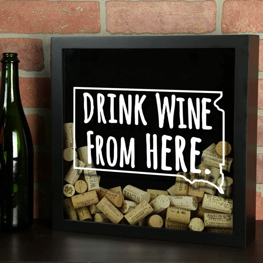 Torched Products Shadow Box Black South Dakota Drink Wine From Here Wine Cork Shadow Box